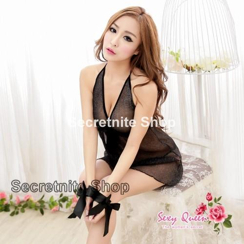 Sun @ Sexy Black Babydoll Lingerie with G-string S-1288