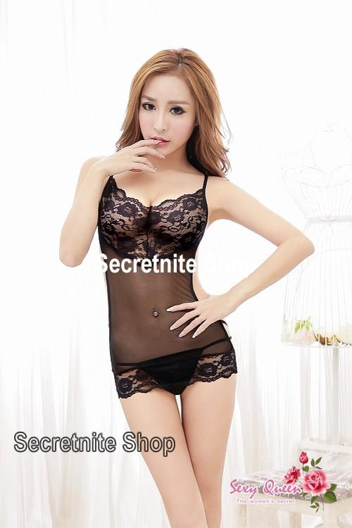 Sun @ Sexy Black Babydoll Lingerie with G-string S-1299