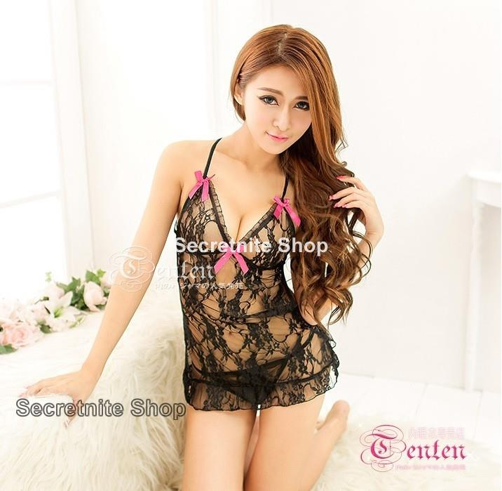 Sun @ Sexy Black Babydoll Lingerie with G-string S-1364