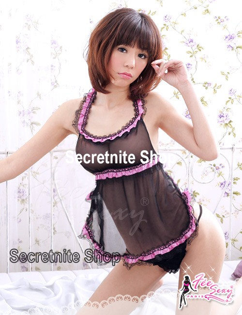 Sun@ Sexy Black Babydoll Lingerie with G-string S-656