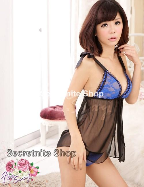 Sun @ Sexy Black Babydoll Lingerie with G-string S-990