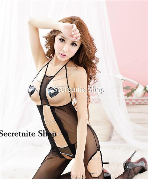 Sun @ Sexy Black BodyStocking with Nipple Cover S-1446