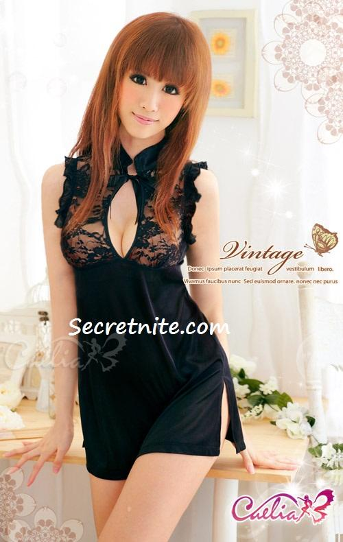 Sun @ Sexy Black Cheongsam Costumes with G-string CO-143