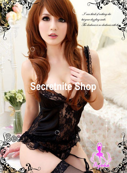 Sun@ Sexy Black Corset with G-string S-541