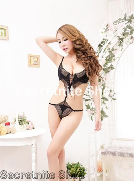 Sun @ Sexy Black Teddy Lingerie with Stocking S-1575