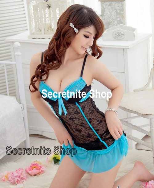 Sun @ Sexy Blue Babydoll Lingerie with G-string S-1126