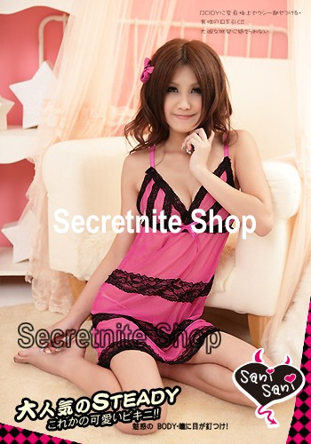 Sun@ Sexy Dark Pink Babydoll with G-string s-793