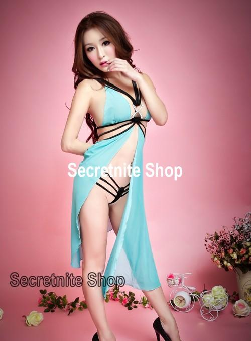 Sun @ Sexy Green Babydoll Lingerie with G-string S-1297