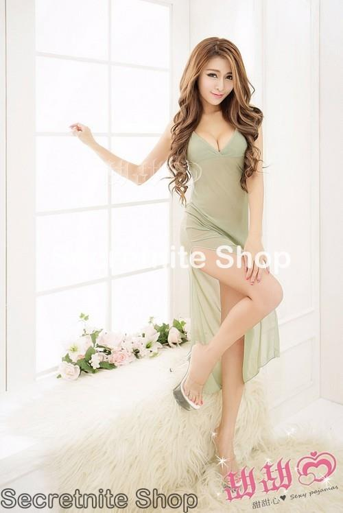 Sun @ Sexy Green Long Dress Babydoll with G-string S-1566