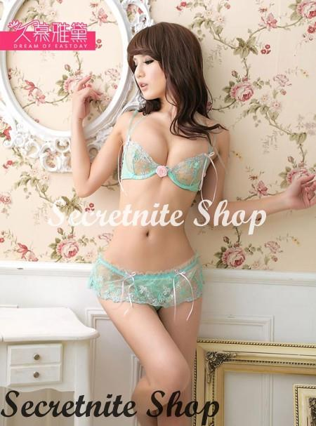 Sun @ Sexy Light Green Bra Set with Stocking S-1503