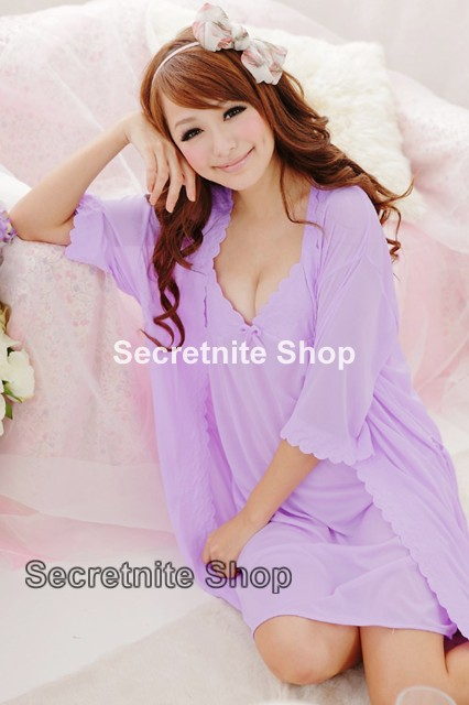 Sun @ Sexy Light Purple Chemise Lingerie with Wrap S-1070
