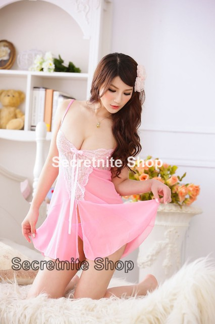 Sun @ Sexy Pink Babydoll Lingerie with G-string S-1079