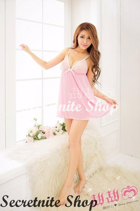 Sun @ Sexy Pink Babydoll Lingerie with G-string S-1352