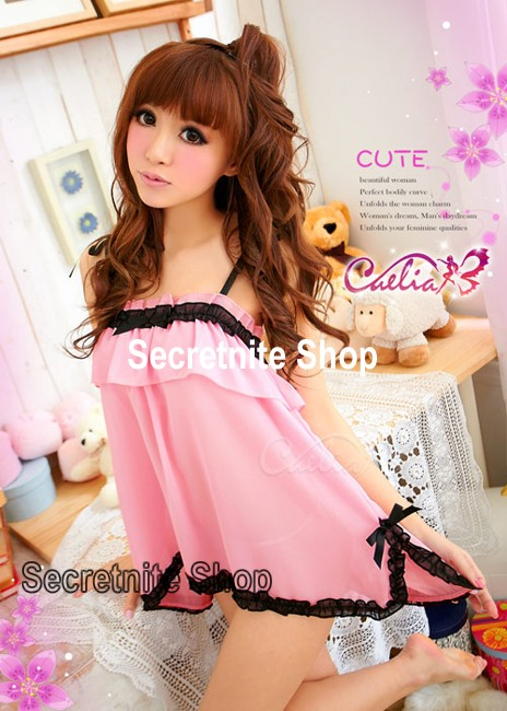 Sun @ Sexy Pink Babydoll Lingerie with G-string S-870