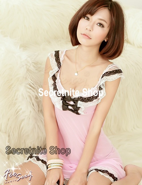 Sun @ Sexy Pink Babydoll Lingerie with G-string S-976