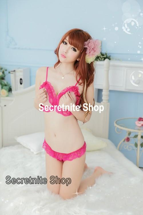 Sun @ Sexy Pink Bikini Bra Set Lingerie with Stocking S-1361