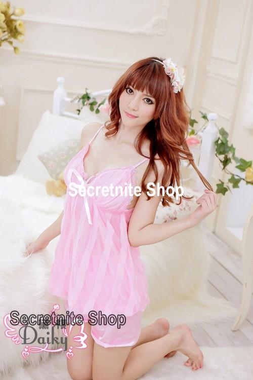 Sun @ Sexy Pink Chemise Lingerie with Panty S-1329