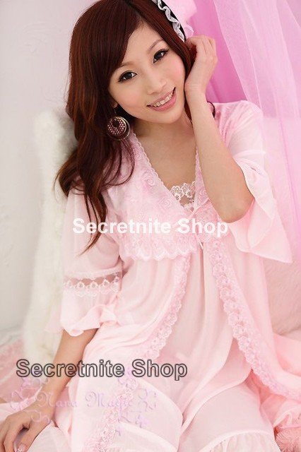 Sun @ Sexy Pink Chemise Lingerie with Wrap S-1065