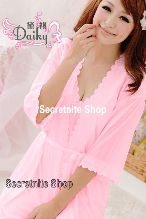 Sun @ Sexy Pink Chemise Lingerie with Wrap S-1340