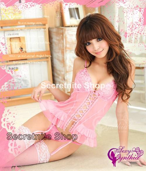 Sun@ Sexy Pink Corset with G-string S-362