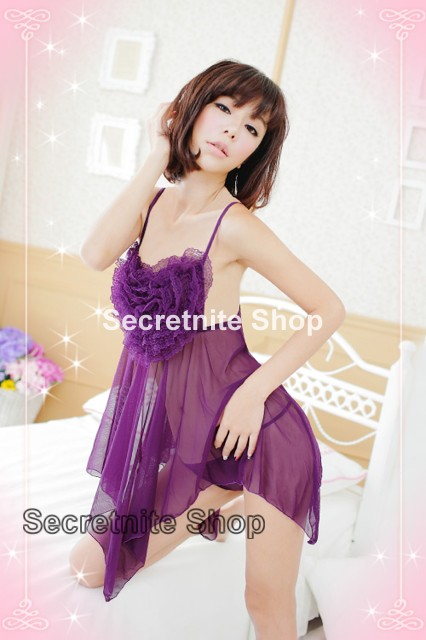Sun @ Sexy Purple Babydoll Lingerie with G-string S-1034