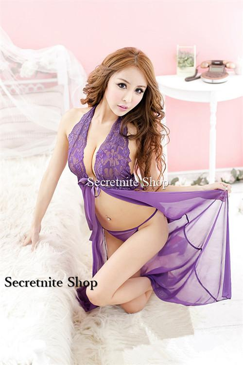 Sun @ Sexy Purple Babydoll Lingerie with G-string S-1426