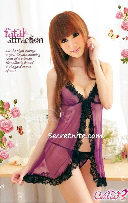 Sun @ Sexy Purple Babydoll Lingerie with G-string S-899