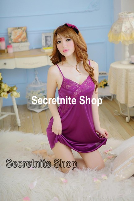 Sun @ Sexy Purple Chemise Lingerie with G-string S-977
