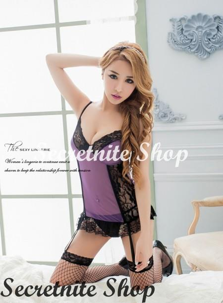 Sun @ Sexy Purple Corset with G-string S-1597