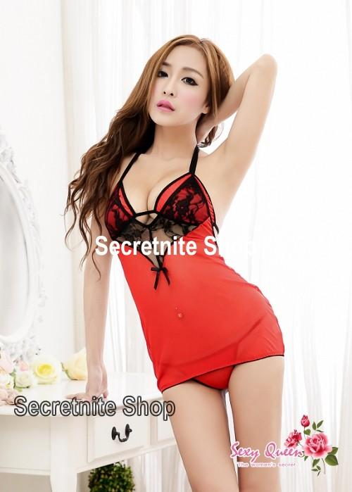 Sun @ Sexy Red Babydoll Lingerie with G-string S-1301
