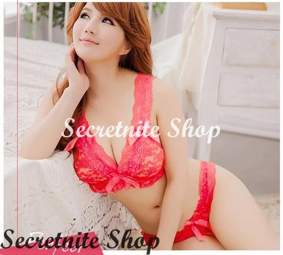 Sun @ Sexy Red Bra Set Lingerie with Stocking S-1650