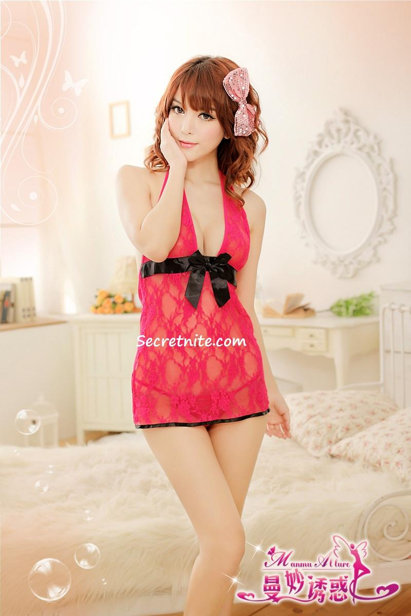 Sun @ Sexy Red Lace Babydoll Lingerie with G-string S-876