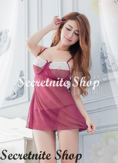 Sun @ Sexy Red Wine Babydoll with G-string S-1567