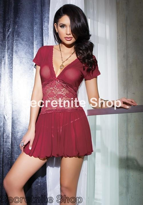 Sun @ Sexy Red Wine Babydoll with G-string S-1568