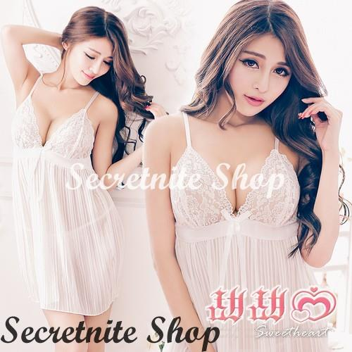 Sun @ Sexy White Babydoll Lingerie with G-string S-1693
