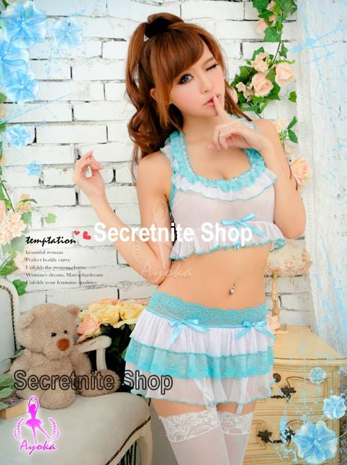 Sun @ Sexy White Babydoll Lingerie with Mini Skirt S-1408