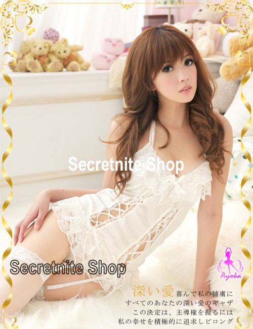 Sun@ Sexy White Corset Lingerie with G-string S-665