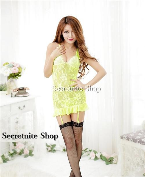 Sun @ Sexy Yellow Babydoll Lingerie with G-string S-1429