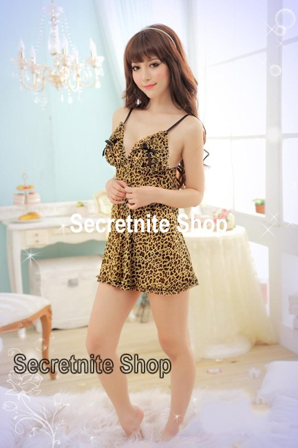 Sun@ Sexy Yellow Leopard Babydoll with G-string s-784