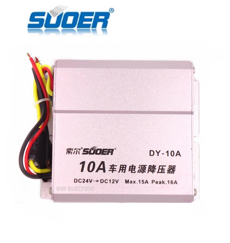 SUOER 10A DC 24V to 12V Car Power Converter Transformer DY-10A