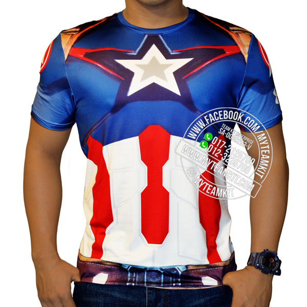 Superheroes Captain America Dri-Fit Digital Print T-shirt
