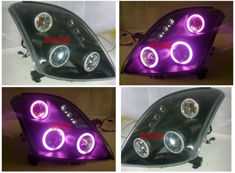 Suzuki Swift `05 Projector Head Lamp 6-CCFL Ring Black