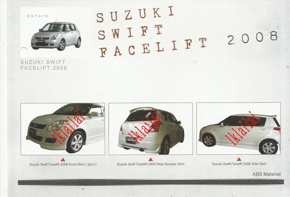 Suzuki Swift '08-12 OEM Style Full Set Body Kit ABS Skirting + Spoiler