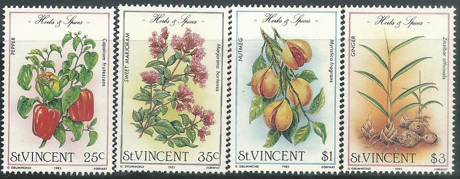 SVC-3 ST VINCENT 1985 HERBS & SPICES 4V MINT