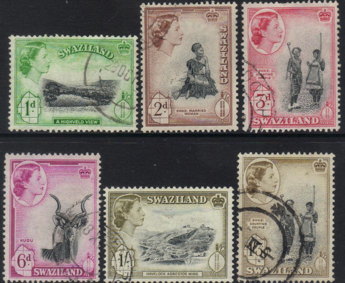 SWAZILAND QEII 1956 DEFINITIVES stamps CAT £6+ BJ145