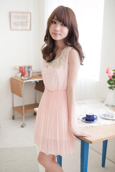 Sweety Baby Collar Pleated Dress (Pink)