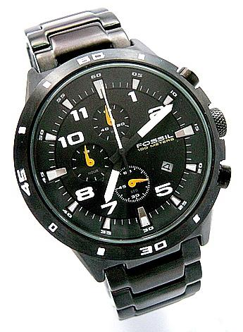 SWISS FOSSIL 100 METERS FOR MAN FULL BLACK PVD JAPAN STOPWATCH