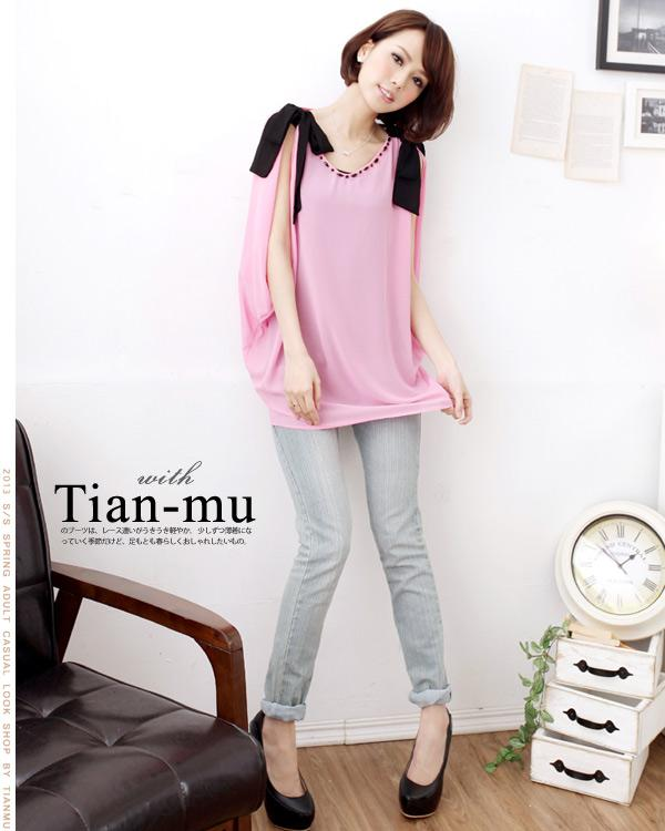 SY7189   Pretty Ribbon sleeve Design Blouse - Pink