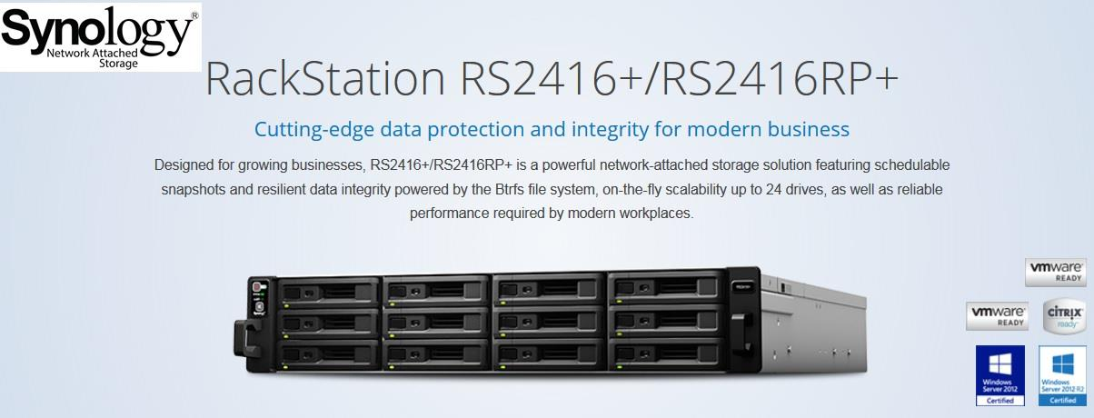 SYNOLOGY NAS ENCLOSURE 12 BAYS /RACKMOUNT & POWER SUPPLY RS-2416RP+