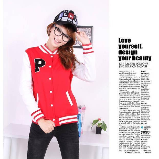 T0046347 Korean Casual Unisex Baseball  P Letter Sweater Stylish